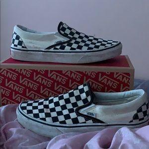 black&white checkered slip on vans. good condition
